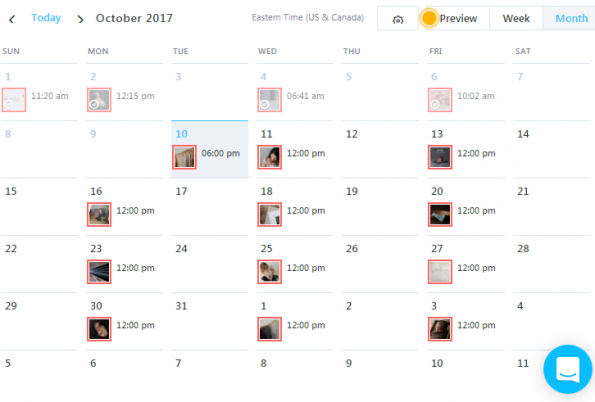 Later: Thumbnails in monthly calendar preview, Later vs Planoly